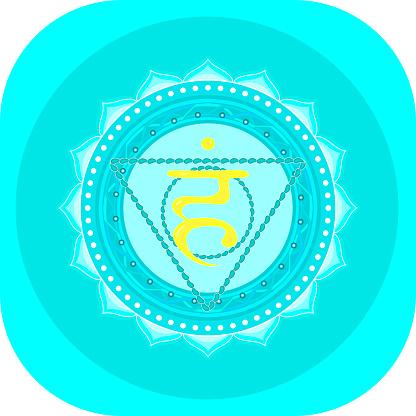 The fifth chakra of Vishudha. Throat chakra with Hindu Sanskrit. Blue is a flat symbol of meditation, yoga. Vector