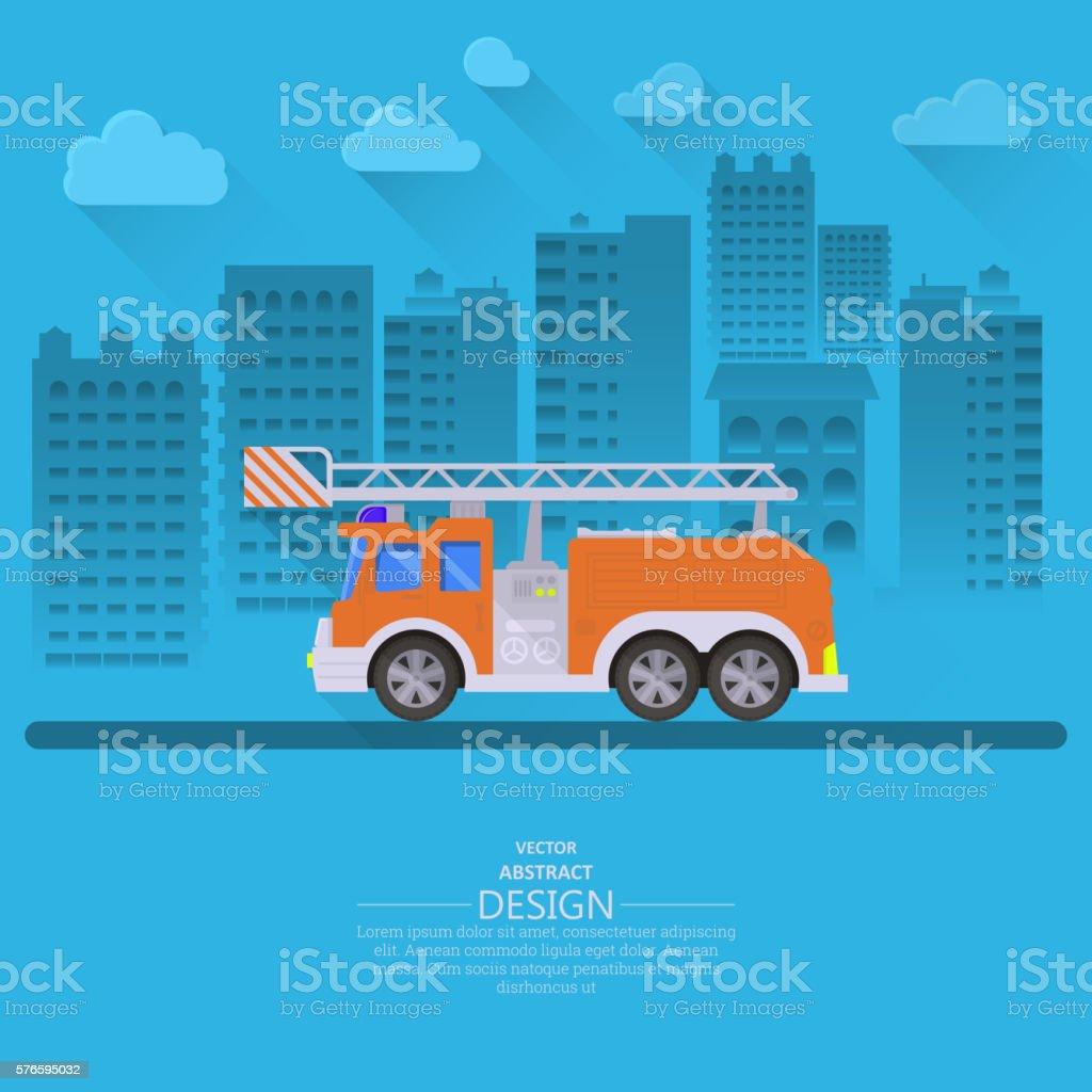 The fire truck vector art illustration