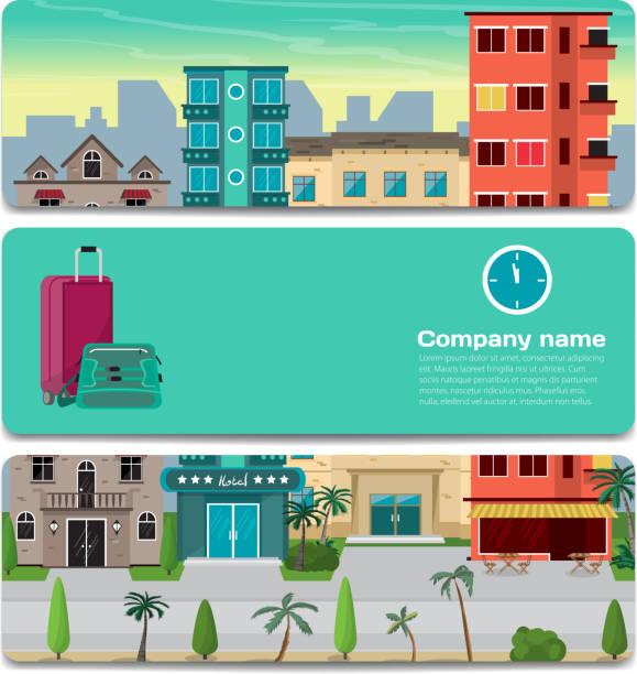 die erste zeile des hotels in eine tropische gegend nahe dem strand - landgastgeschenke stock-grafiken, -clipart, -cartoons und -symbole