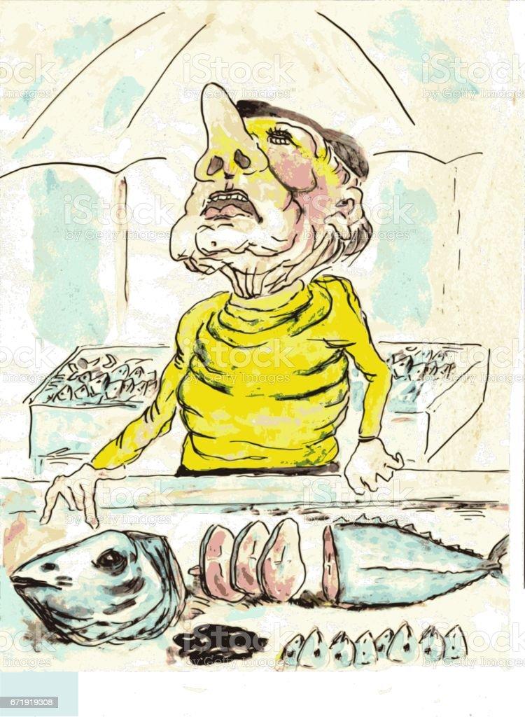The Fish Vendor vector art illustration