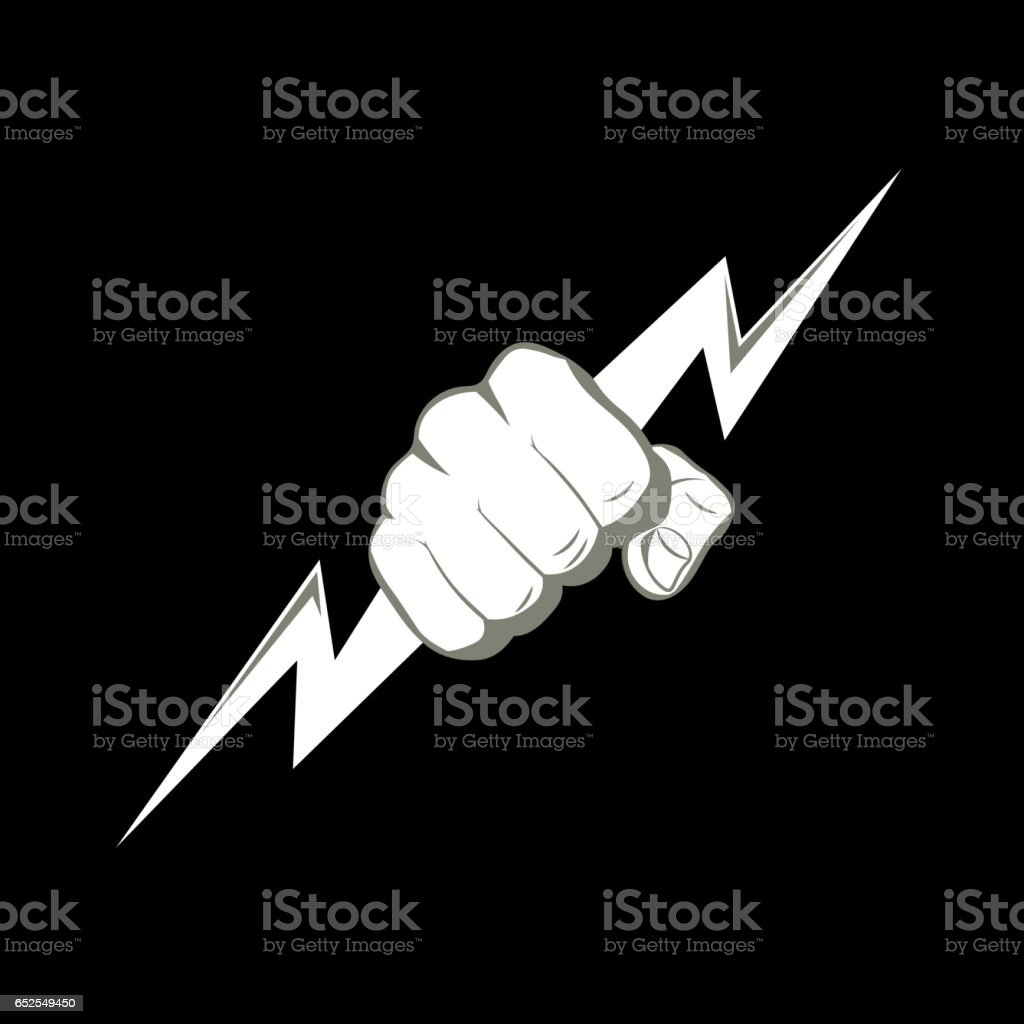 The fist squeezing a lightning