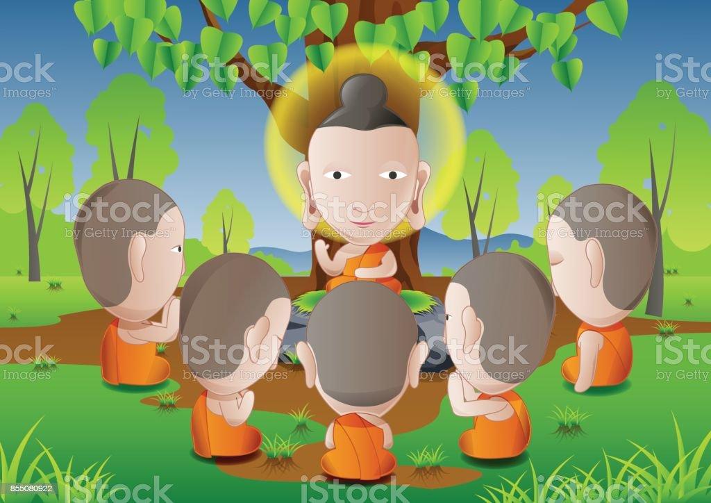 los cinco ascetas se convirtieron en seguidores de la Buddha.good para usar en el día importante del budismo - ilustración de arte vectorial