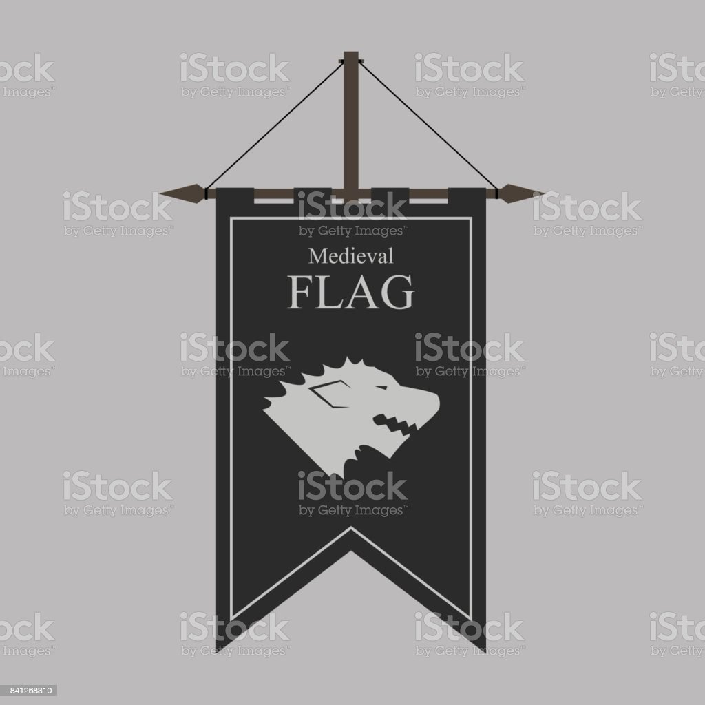 the flag of a country, state, or territory ruled by a king or queen. medieval vintage style flat design vector illustration. middle age kingdom. wolf on black flag. vector art illustration
