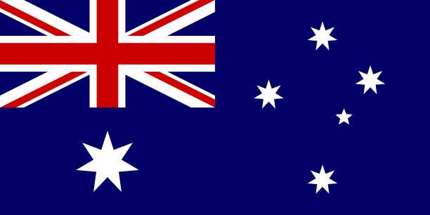 ilustrações, clipart, desenhos animados e ícones de a bandeira da austrália. símbolo nacional do estado. ilustração em vetor. - bandeira union jack