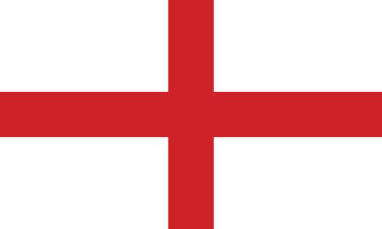 The Flag of England with a white background and red cross