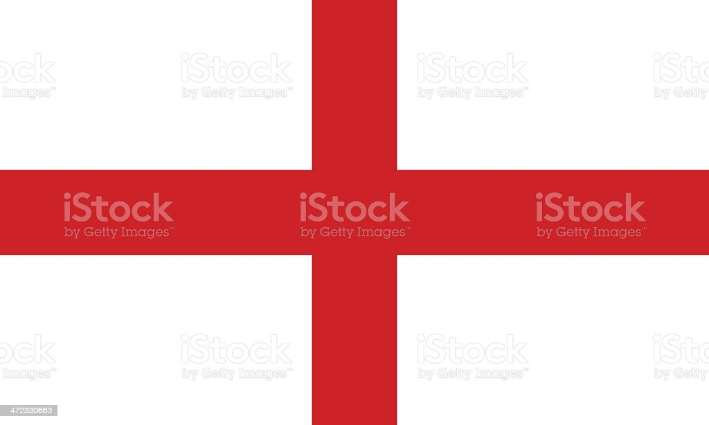 The Flag of England with a white background and red cross vector art illustration
