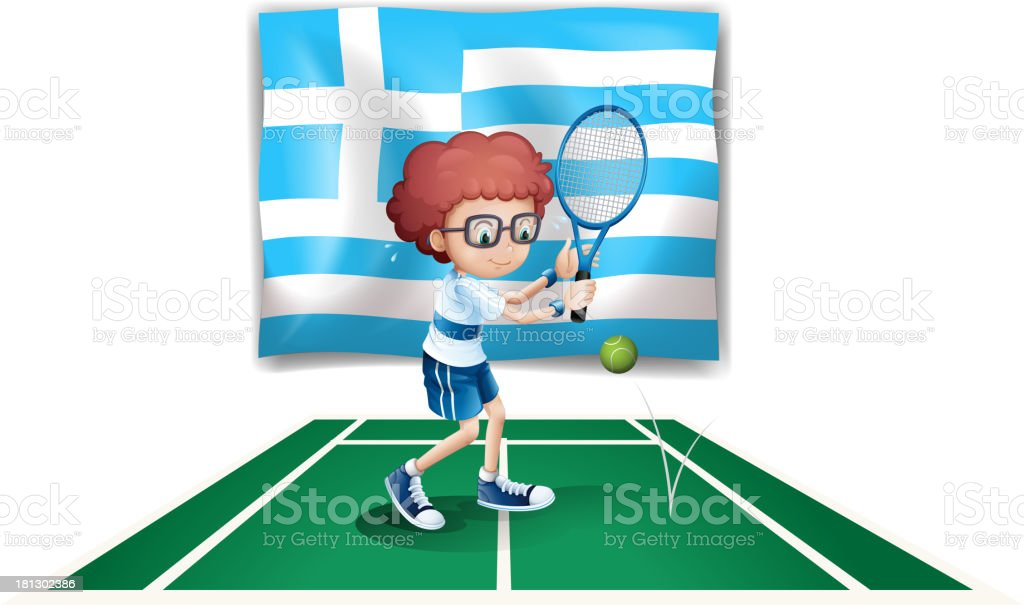 The flag of Greece and tennis player royalty-free stock vector art