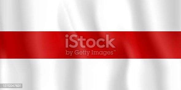 istock The flag of protests in Belarus. Protests in Belarus in 2020. Presidential election in Belarus. Minsk. Lukashenko 1270047631