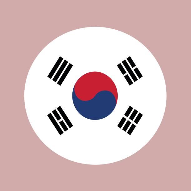 ilustrações, clipart, desenhos animados e ícones de a bandeira da coreia do sul em um círculo. vetor da bandeira tricolor. - bandeira da coreia