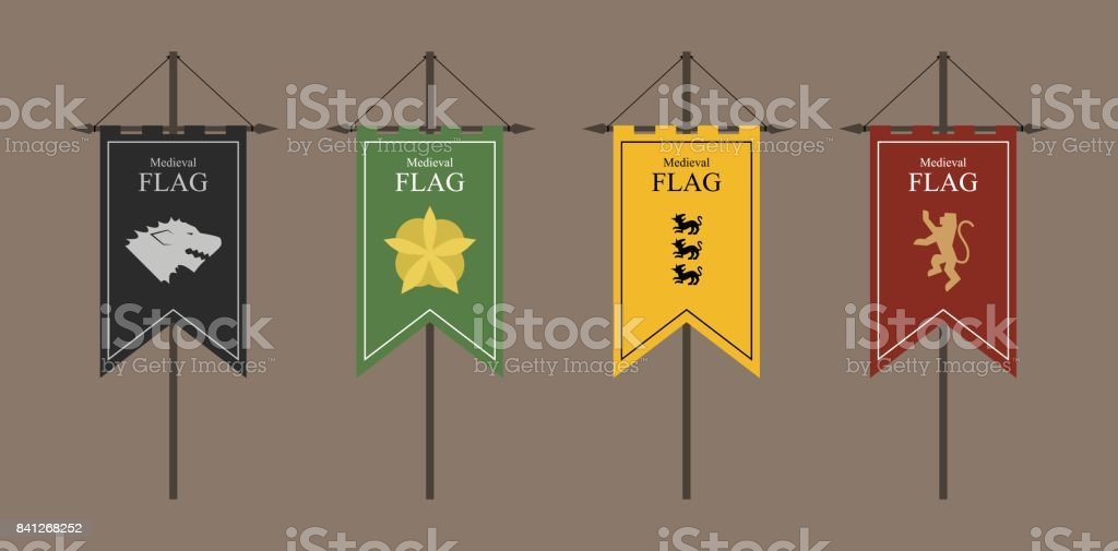 the flags of a country, state, or territory ruled by a king or queen. medieval vintage style flat design vector illustration. middle age kingdom. black green yellow red. vector art illustration