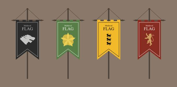 the flags of a country, state, or territory ruled by a king or queen. medieval vintage style flat design vector illustration. middle age kingdom. black green yellow red. - средневековье stock illustrations