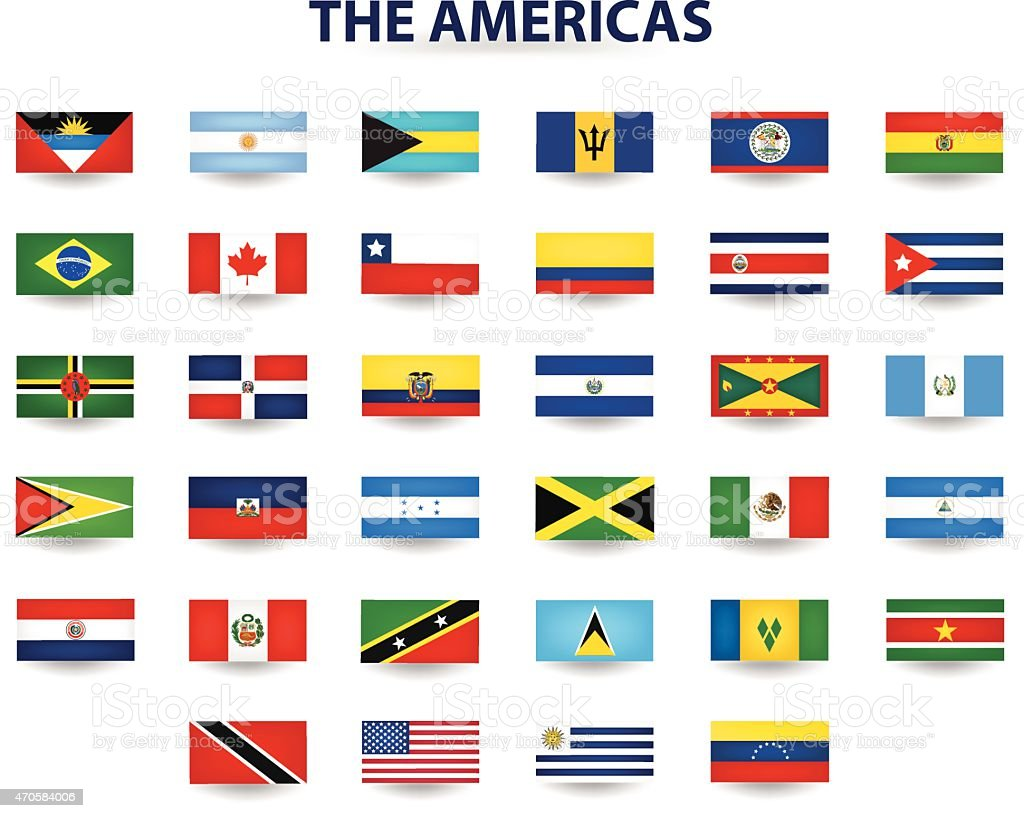 The flags of North America and South America vector art illustration
