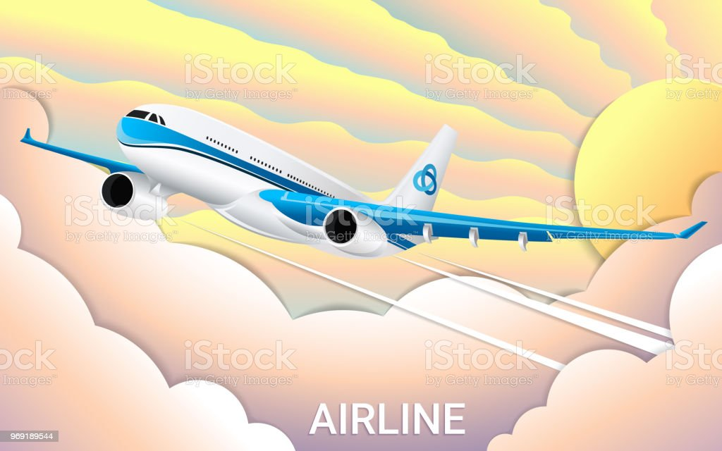 The flight of a passenger airplane colorful sky and clouds cut out the flight of a passenger airplane colorful sky and clouds cut out paper maxwellsz