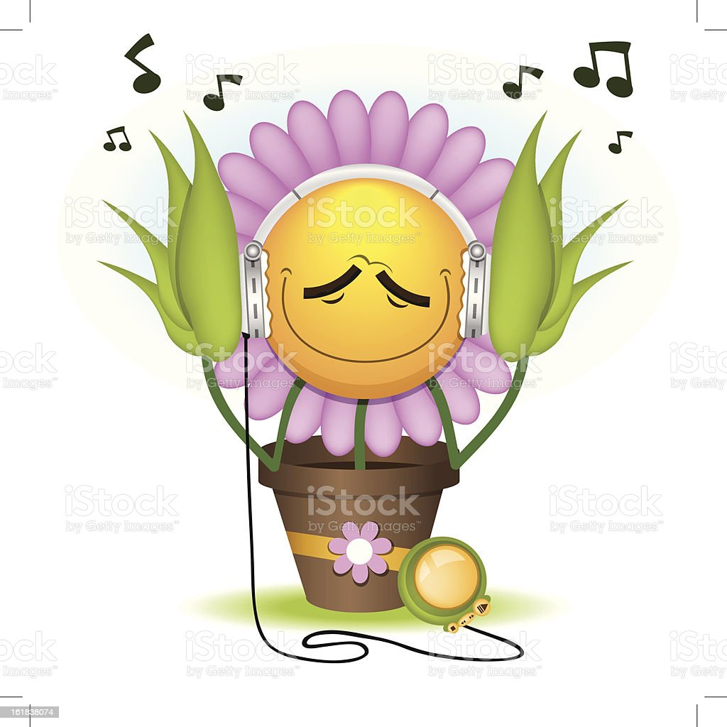The floret listens to music. 10 eps royalty-free stock vector art