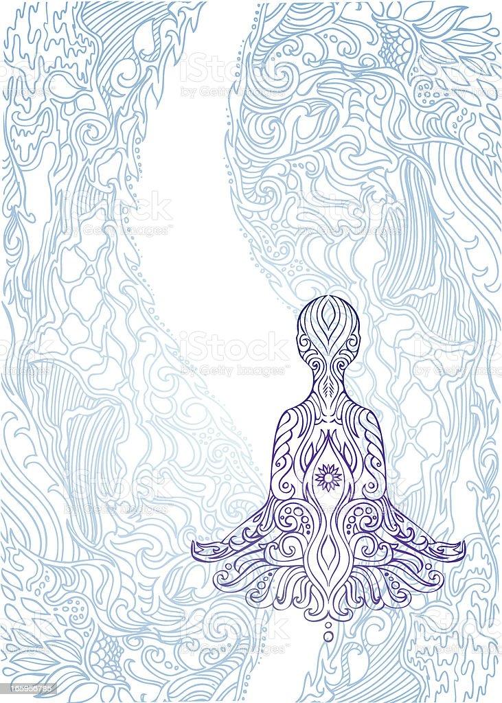 the flow of meditation vector art illustration