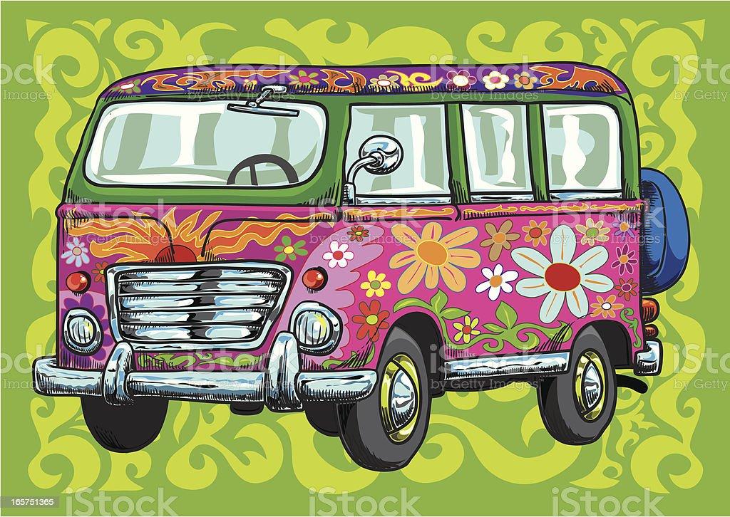 The flower power van vector art illustration