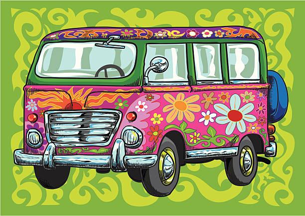 stockillustraties, clipart, cartoons en iconen met the flower power van - hippie