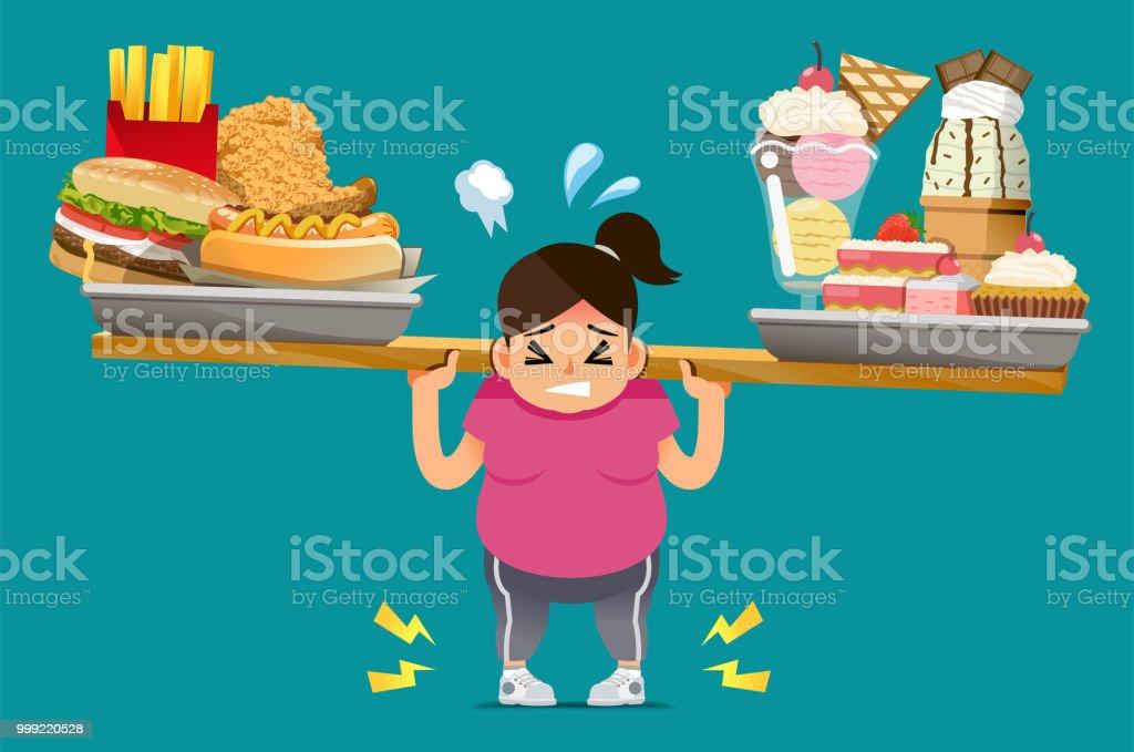 A comida que não é útil, faz com que uma penalidade. - ilustração de arte em vetor
