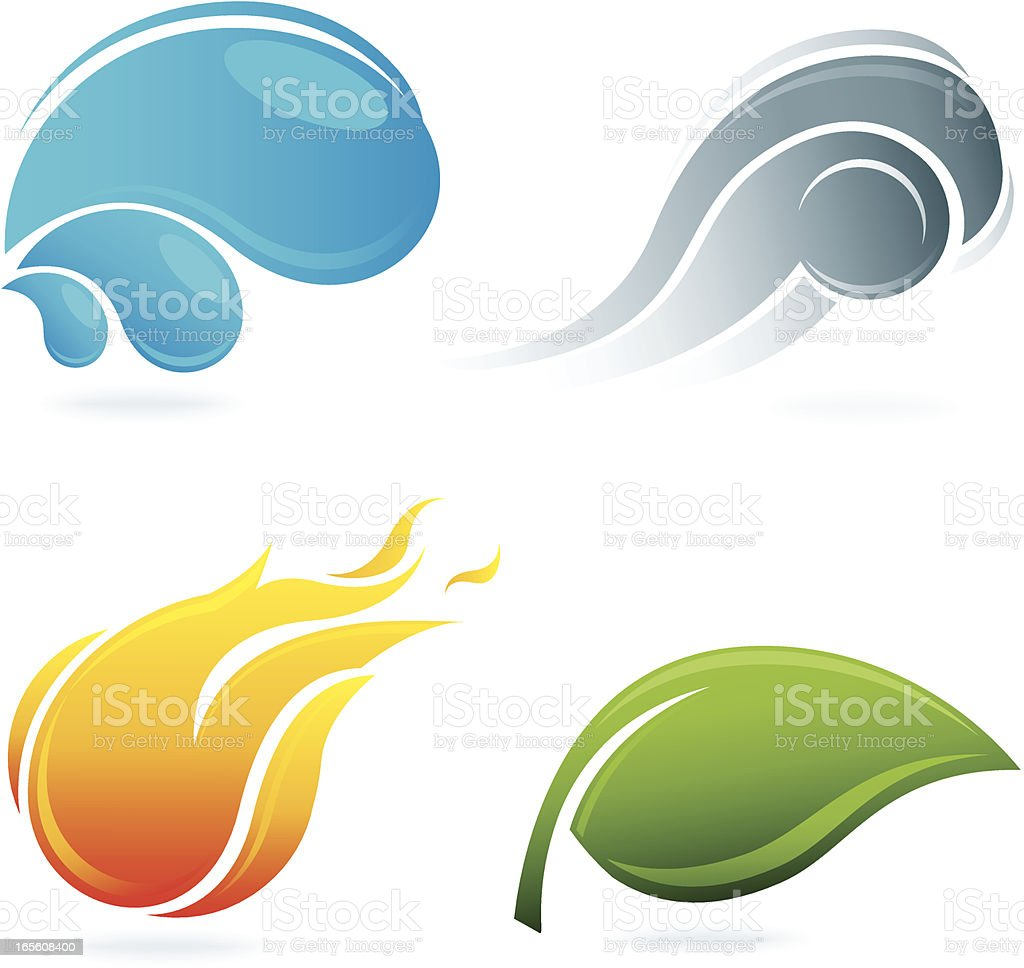 The Four Elements of Nature vector art illustration