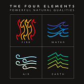 Vector Illustration with the simplicity of The Four Elements in a colourful flat signs.