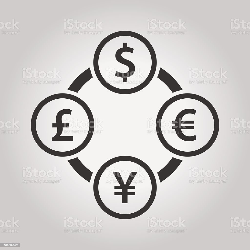 The four most traded currencies in the world vector art illustration