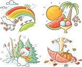 Cartoon drawings of spring, summer, autumn and winter, no gradients.
