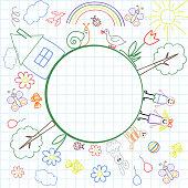 The frame is from a model of children's illustration.  vector illustration.