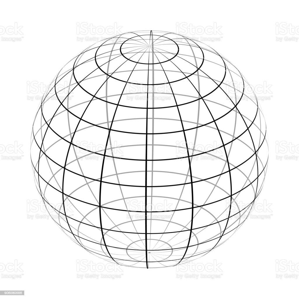 Der Rahmen der Erde ist eine einfache schwarze und weiße Form. – Vektorgrafik