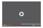 istock The frame of the playing video player. Playback control buttons. Vector user interface layout. Stock Photo. 1255880988