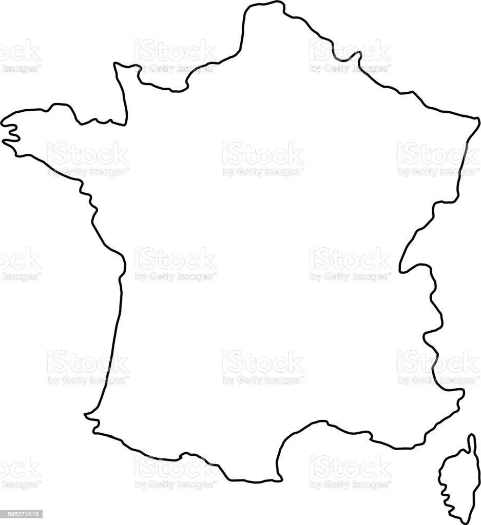 contour carte de france The France Map Of Black Contour Curves Of Vector Illustration