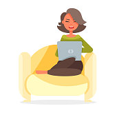 Young freelance woman works on the computer snuggles down at cozy sofa. Vector illustration colorful isolated on white background