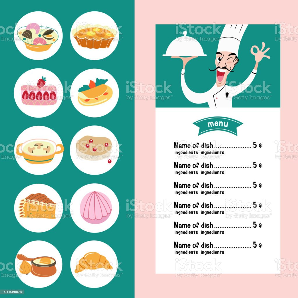 The French Cuisine Menu A Set Of French Dishes Stock Vector Art ...