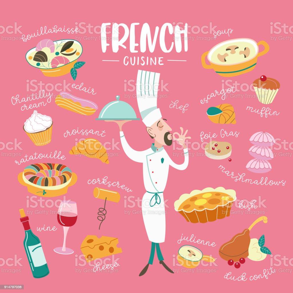 Die französische Küche. Menü. Eine Reihe von französischen Gerichten. – Vektorgrafik