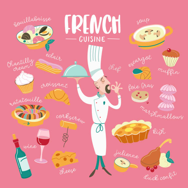 The French cuisine. Menu. A set of French dishes. vector art illustration
