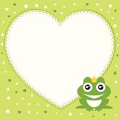 The frog prince with heart shape frame.