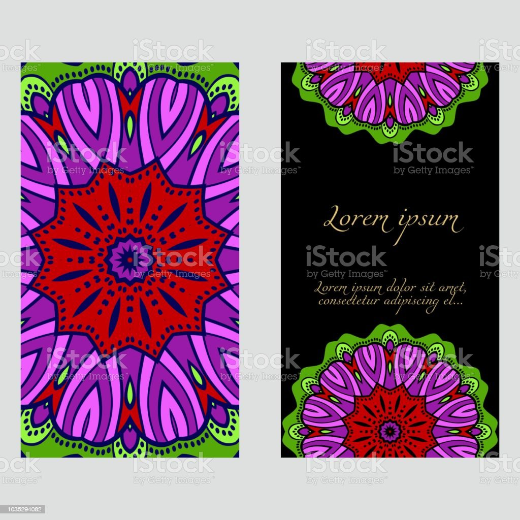 The Front And Rear Side Mandala Design Elements Wedding Invitation ...