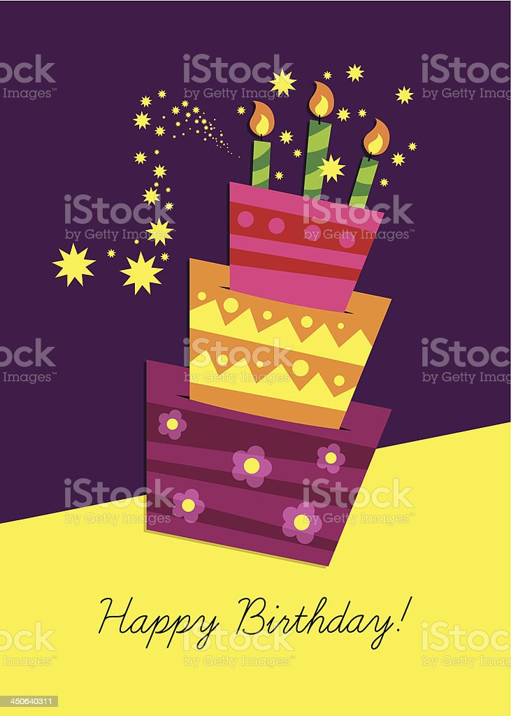 The front side of a birthday card featuring a cake vector art illustration