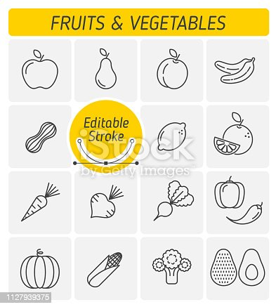 The fruits and vegetables outline vector icon set. A veggies, greens, harvest fruitages symbols. Natural, fresh, organic, healthy food and ingestion thin linear vector icons with editable stroke width