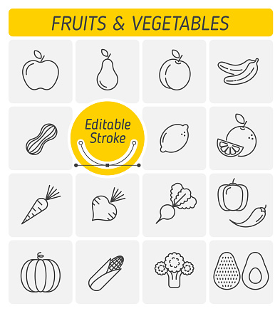 The fruits and vegetables outline vector icon set.