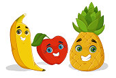 Illustration of a apple, a banana and pineapple in cartoon style with smiling faces.