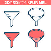 The funnel filter. Flat and isometric 3d outline icon set.