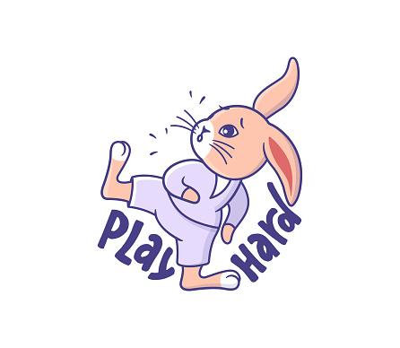 The funny Cartoonish bunny in sport style.