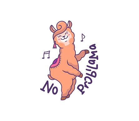 The funny llama dancing on a white background. Cartoonish alpaca