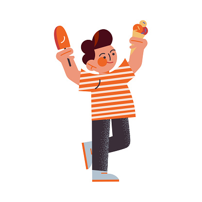 The funny young boy in black pants holding ice cream in raised hands. Vector illustration in the flat cartoon style.