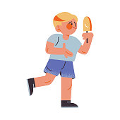 The funny young boy in blue shorts holding ice cream. Vector illustration in the flat cartoon style.
