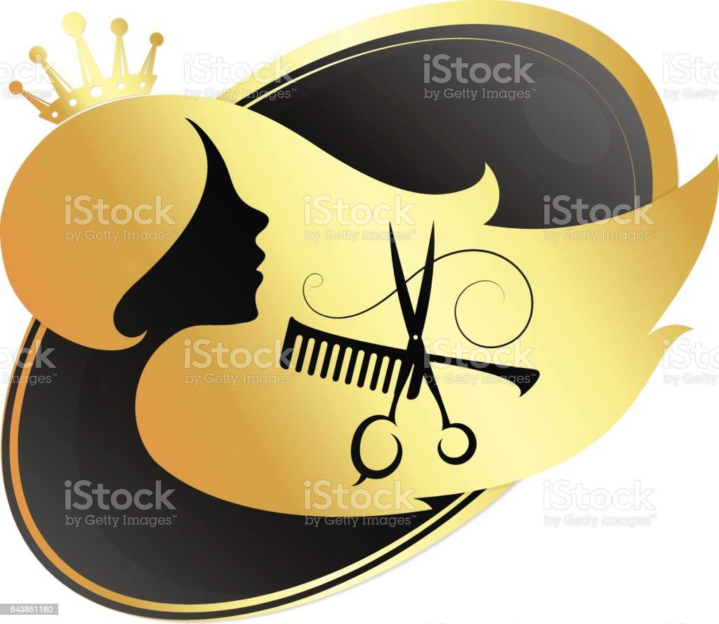 The girl and scissors for beauty salon and hairdresser vector art illustration