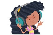 Illustration of girl hooing music with headphone.