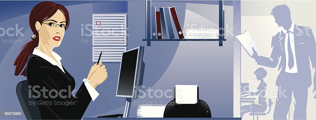 The girl at office royalty-free the girl at office stock vector art & more images of achievement
