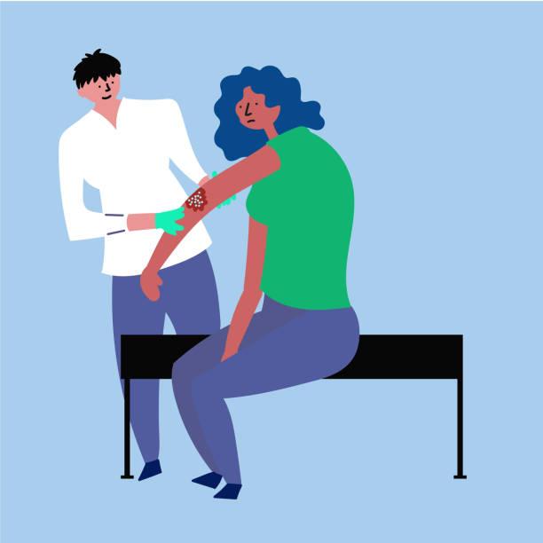 ilustraciones, imágenes clip art, dibujos animados e iconos de stock de la chica de la recepción del doctor. tratamiento del eczema, psoriasis - dermatología