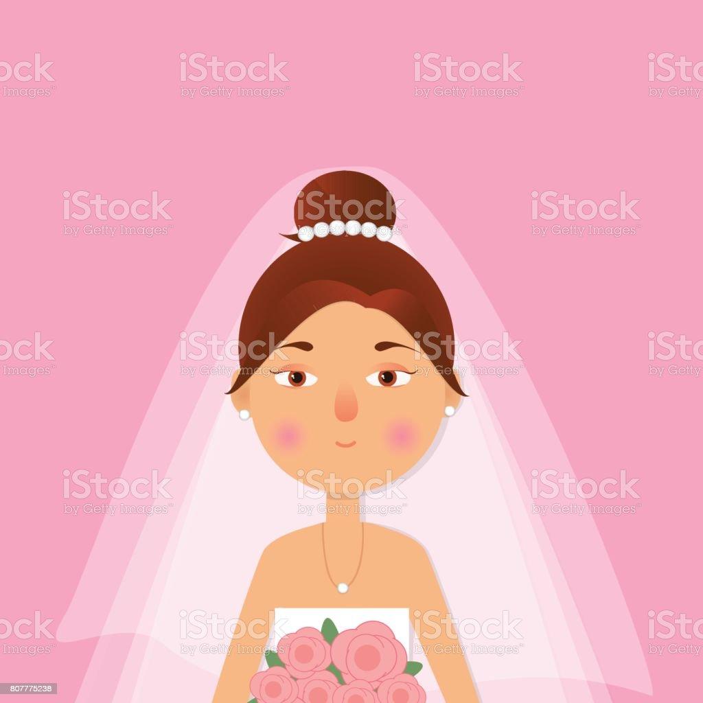 Ilustración de La Niña Hermosa Mujer En Vestido De Novia Y El Ramo ...